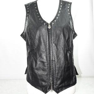 Womens Harley Davidson Leather Vest Size M Black